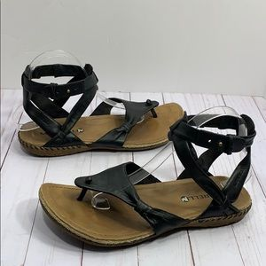Merrell black leather ankle wrap T strap sandals